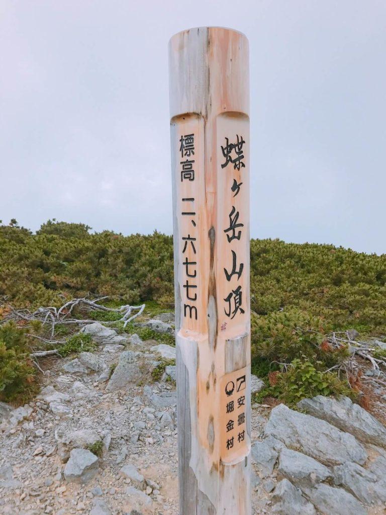 蝶ヶ岳の頂上