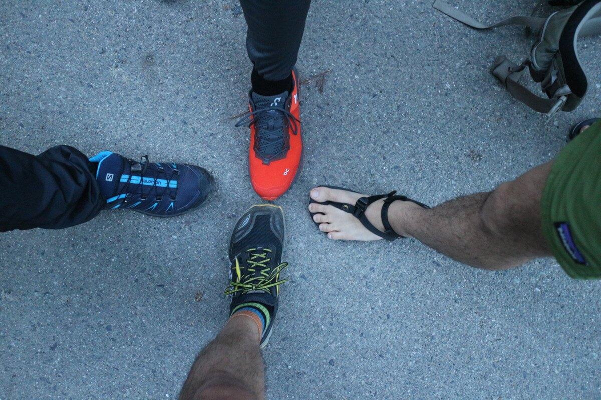 蝶ヶ岳の登山靴