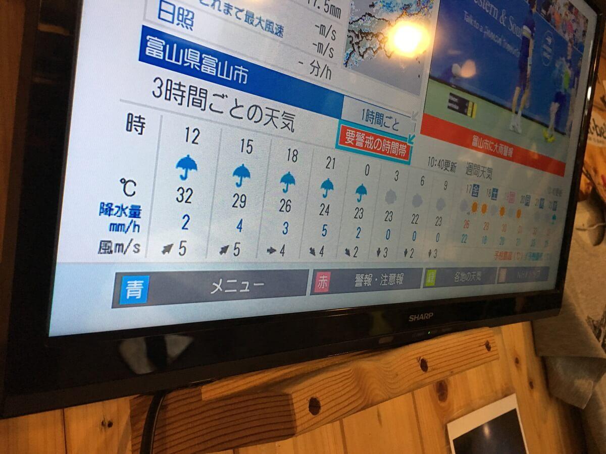 三俣山荘のテレビ