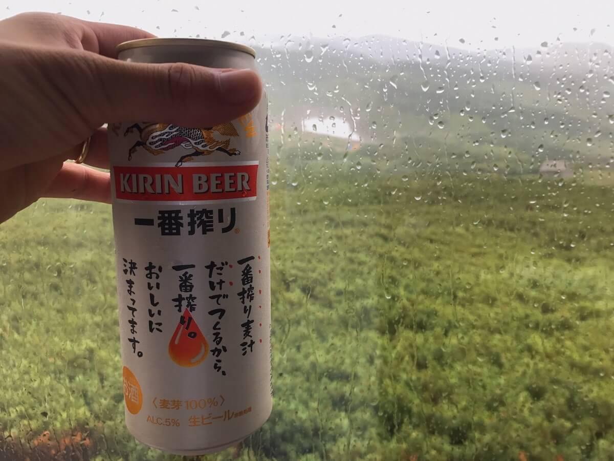 三俣山荘でビール