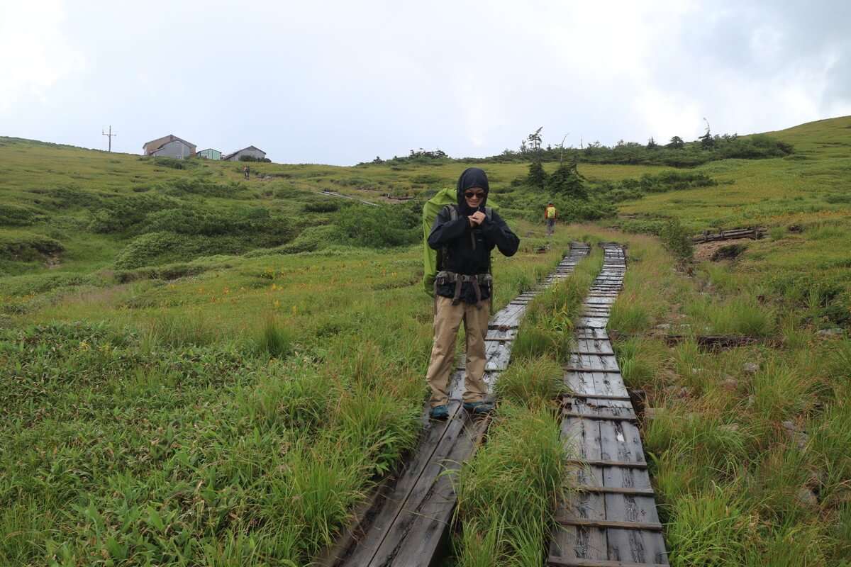 登山道を太郎平小屋に向かって