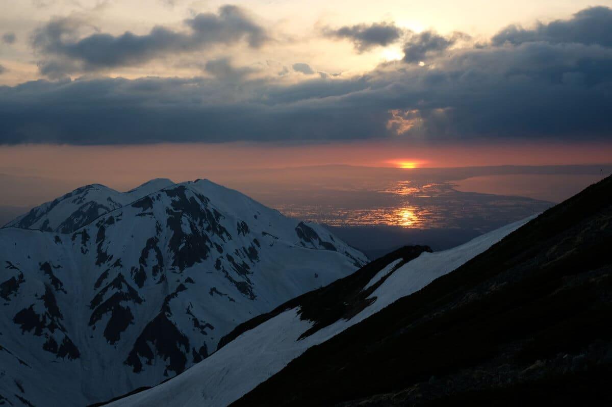 剱岳からの夕日