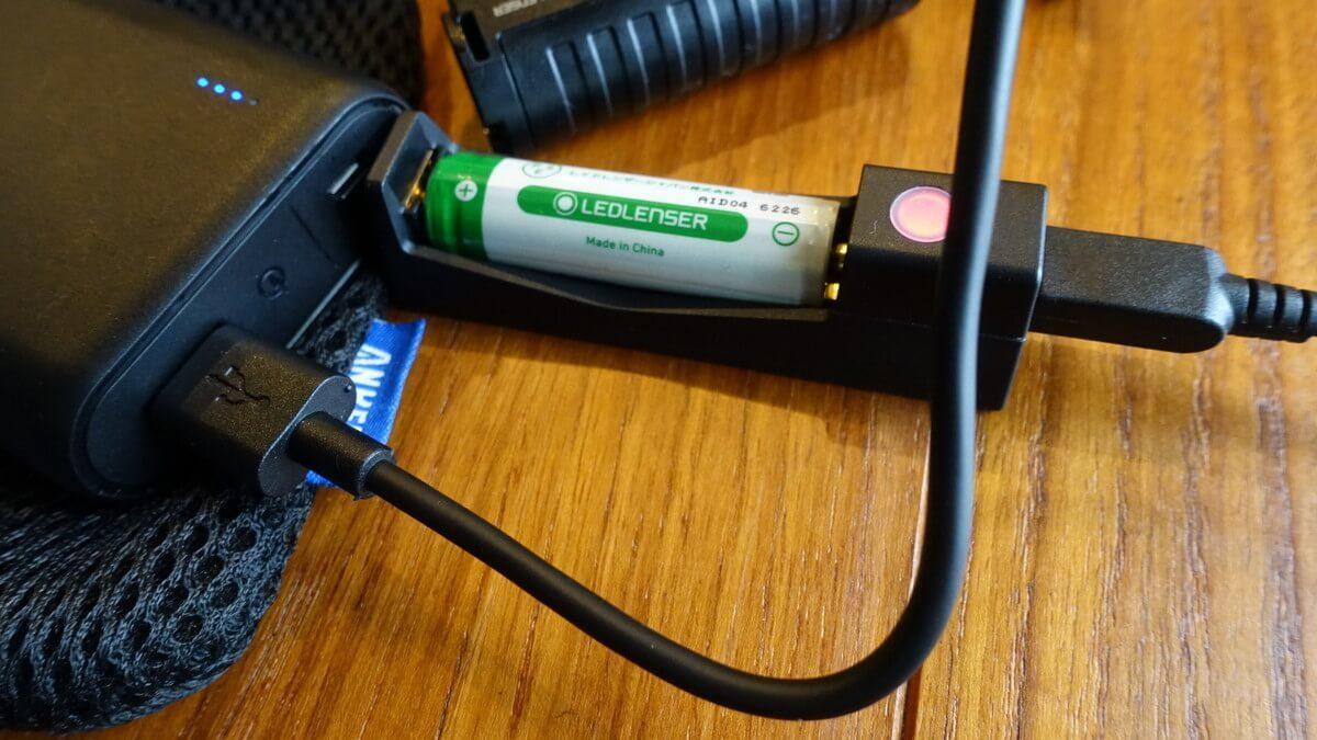 ヘッドランプ レッドレンザーMH5の電池
