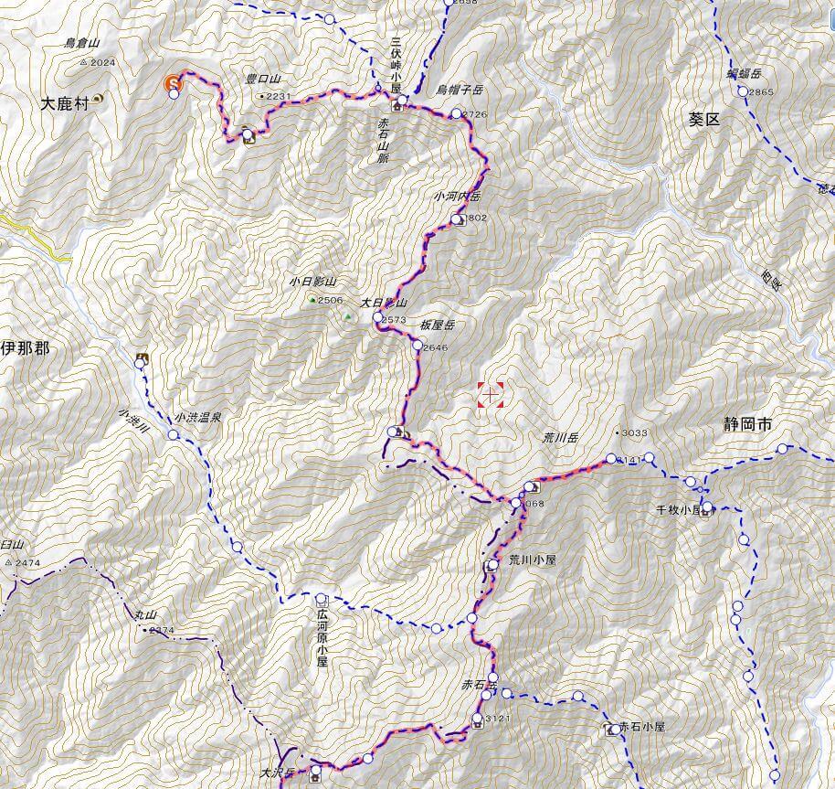 南アルプス縦走登山の前半地図