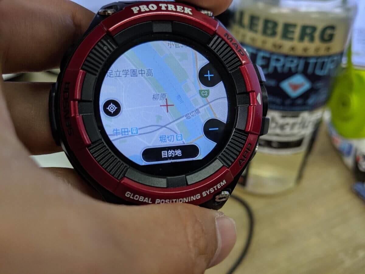 プロトレックスマートの地図を見ながらランニング