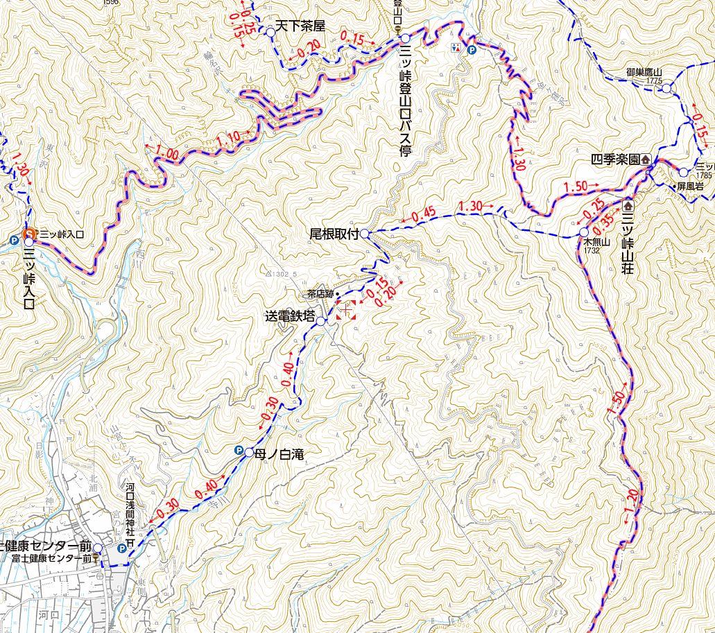 三ツ峠山の登山ルート