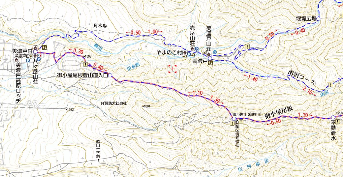 阿弥陀岳の登山ルート