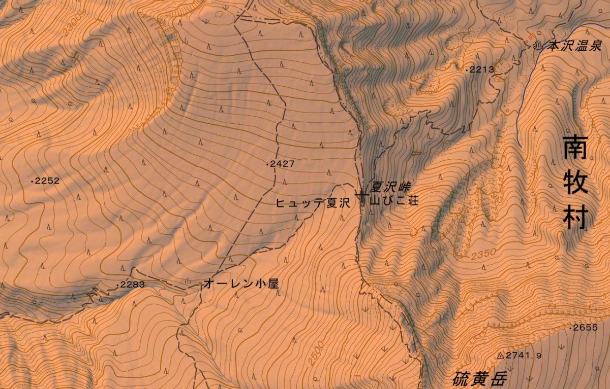 桜平から夏沢峠のルート