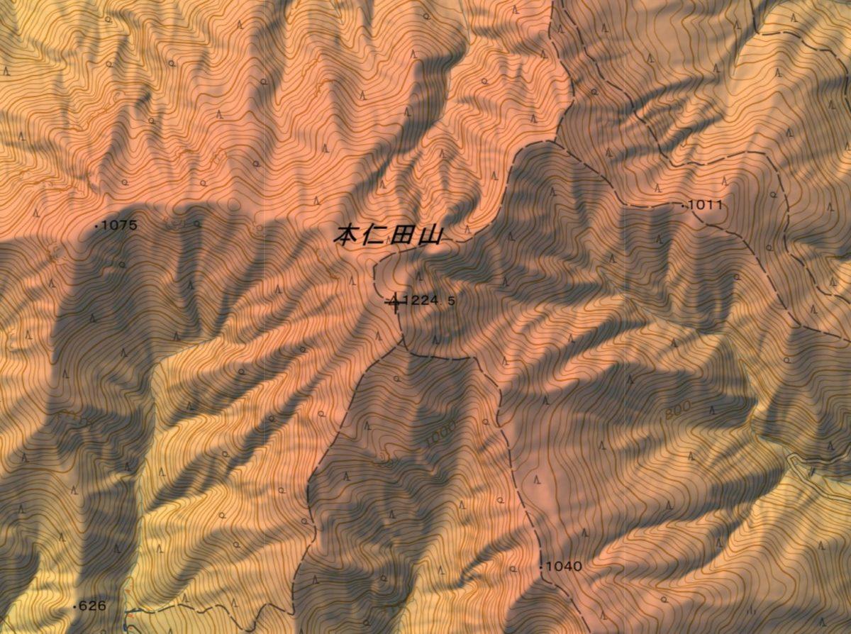 大休場尾根を経て本仁田山山頂への登山ルート