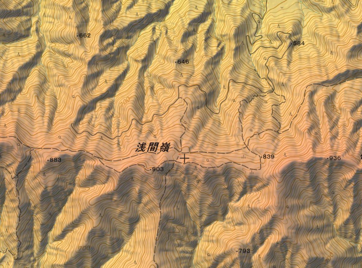 浅間尾根登山口~浅間嶺~時坂峠の登山ルート
