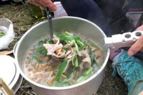 晩秋11月 明神ヶ岳~明星ヶ岳-豚バラとニラときのこの鍋