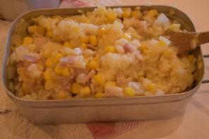 メスティン山ごはんレシピ-コーンとベーコンの炊き込みご飯