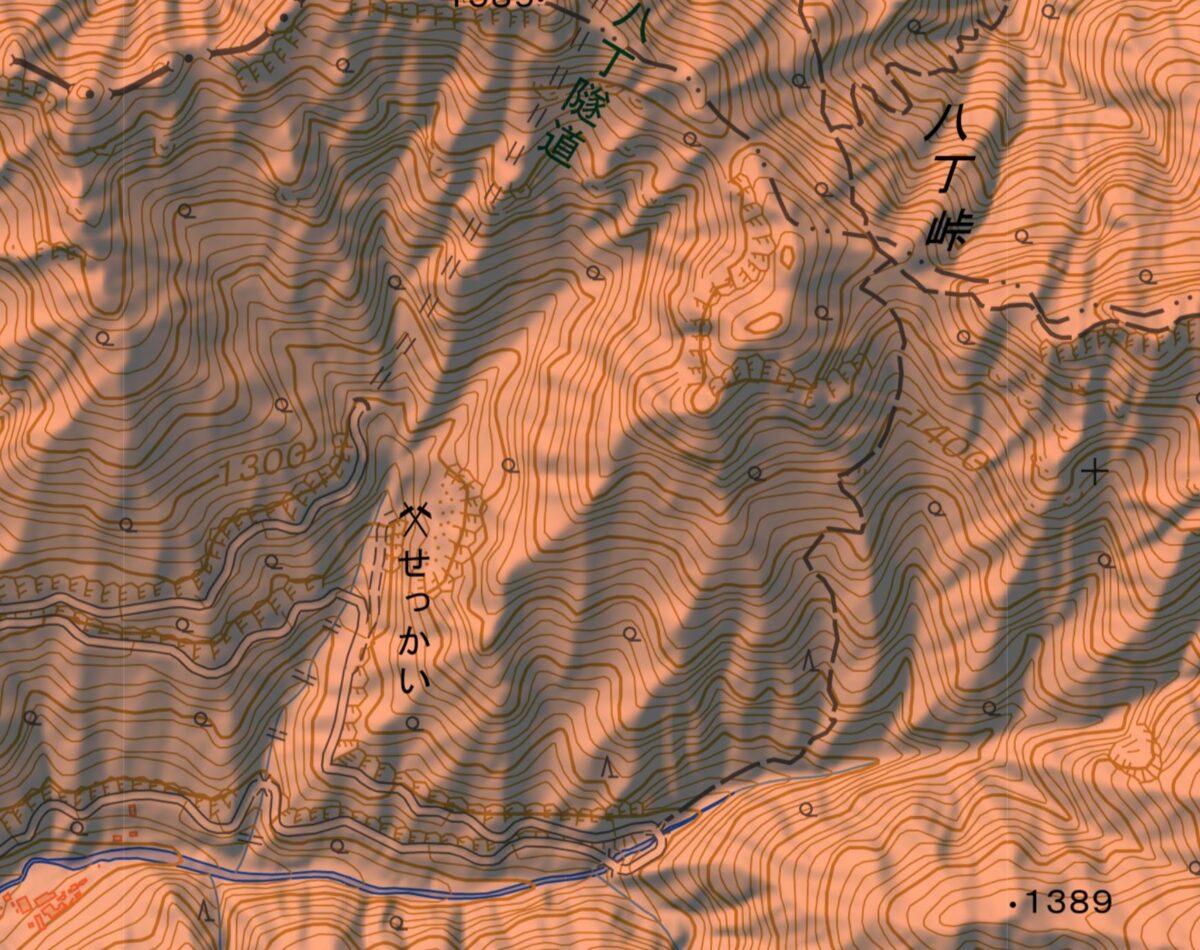 落合橋から八丁峠の登山ルート