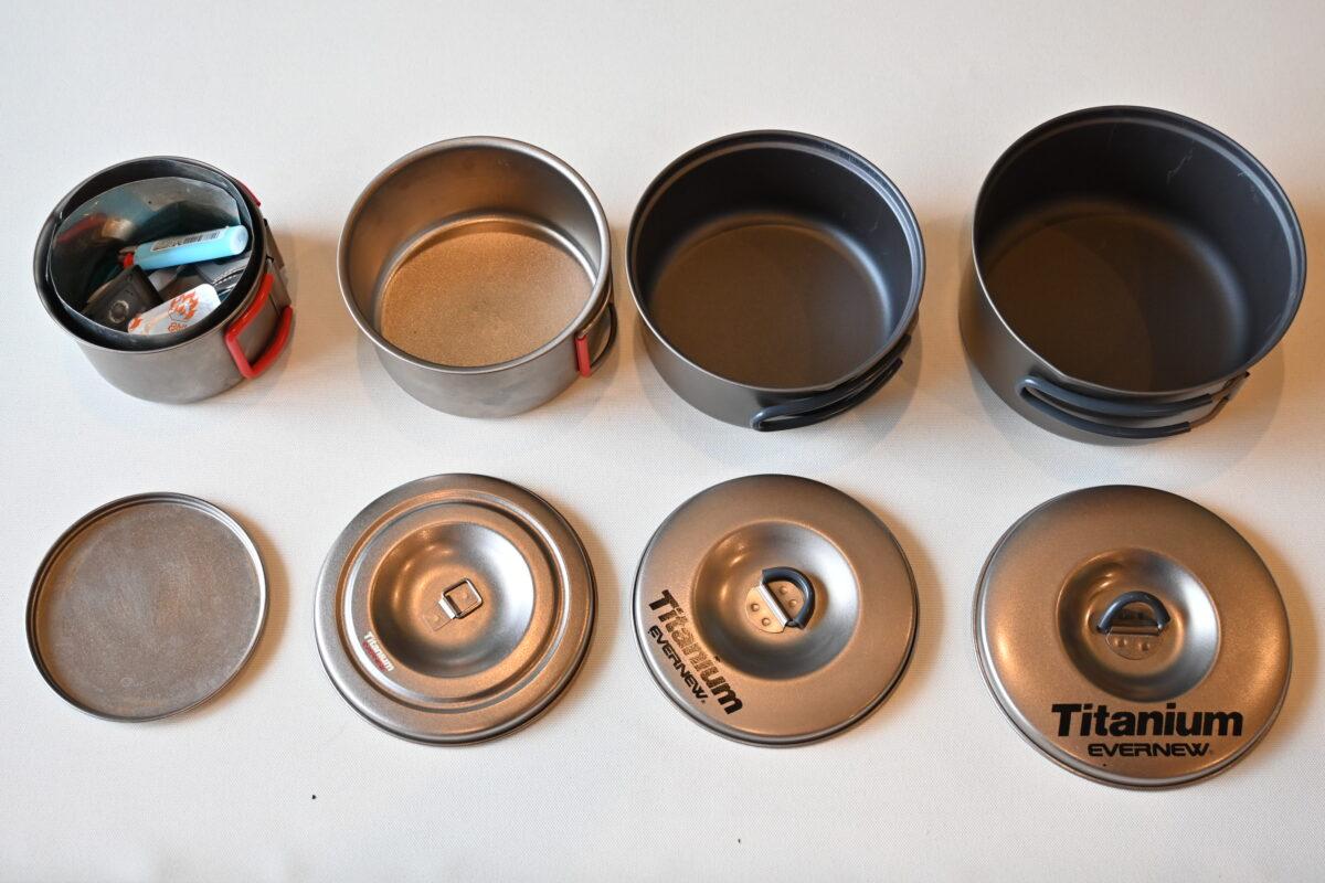 右から400FD、Ti570cup、チタンウルトラライトクッカーS(1と2のセット商品)